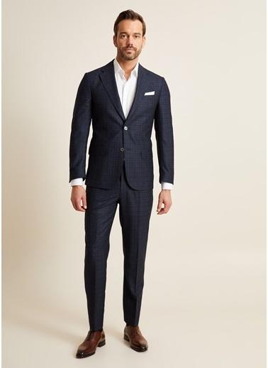Bisse PTK20K20218 Klasik Fit 6 Drop Platinum Kareli Takım Elbise Lacivert